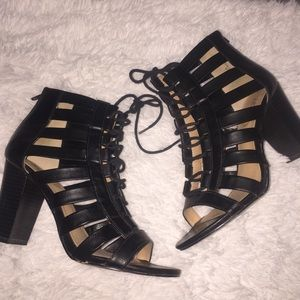 Black Lace Up Caged Booties